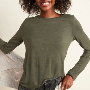 Old Navy Olive Green Crew Neck Long Sleeve Shirt